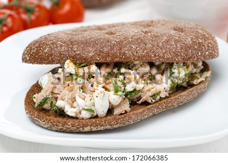 sandwich of rye bread with tuna, homemade cheese and dill, close-up, horizontal - stock photo