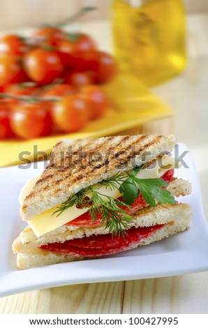 sandwich on white plate - stock photo