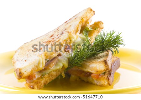 Sandwich or panini with cheese and tomato. decorated with dill. - stock photo