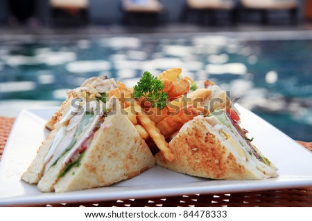 sandwich outdoor at swimming pool - stock photo