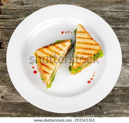Sandwich, Panini, Delicatessen. - stock photo