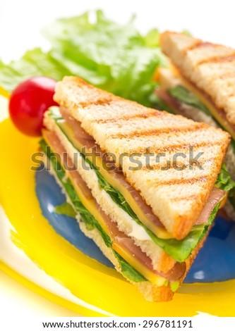 Sandwich, Panini, Toasted Sandwich. - stock photo