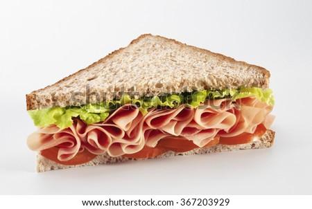 Sandwich salad, ham, tomatoes, isolated on white background - stock photo