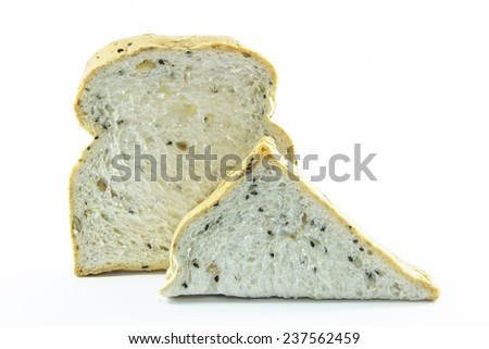 Sandwich sliced whole wheat bread on white background