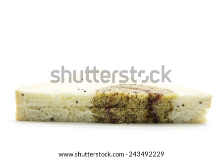 Sandwich sliced whole wheat bread with banana texture on white background - stock photo