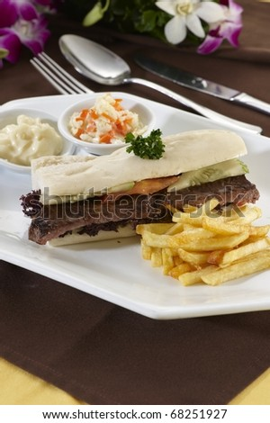 Sandwich Steak and Cheese with Fries - stock photo