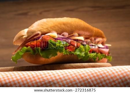 Sandwich, Submarine, Beef. - stock photo