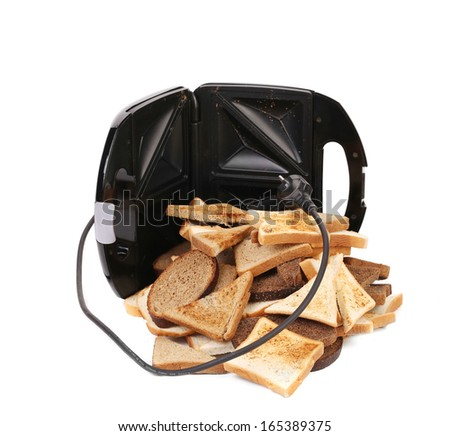 Sandwich toaster. We can toast more. Isolated on a white background. - stock photo