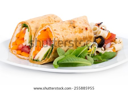 sandwich tortilla wrap closeup on plate over white background