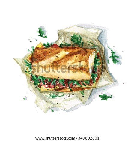 Sandwich - Watercolor Food Collection - stock photo