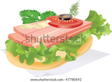 Sandwich with bacon on a napkin. - stock photo