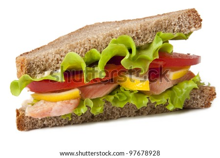sandwich with boiled red fish on a white background - stock photo