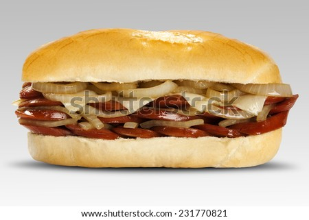 sandwich with calabrese and onion - stock photo
