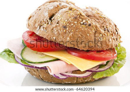 Sandwich with Cheese and Ham - stock photo