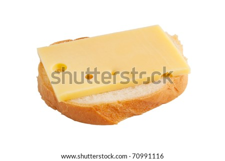 Sandwich with cheese on a white background