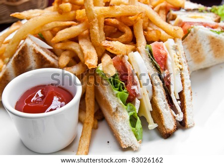 Sandwich with chicken, cheese and golden French fries potatoes - stock photo