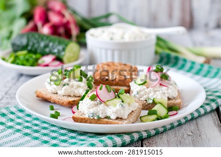 Sandwich with cottage cheese, radish, black pepper and cucumber  - stock photo