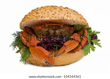 Sandwich with crab isolated on white - stock photo