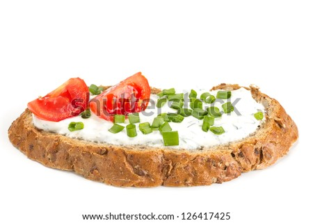Sandwich with cream cheese and tomatoes isolated on white background