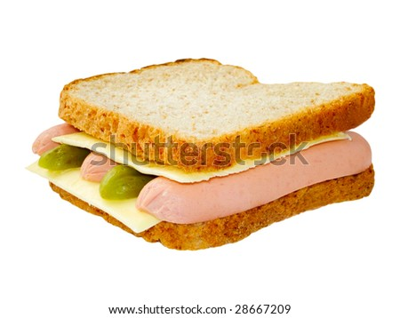 sandwich with cucumbers and sausages isolated