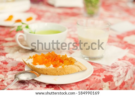 sandwich with dried apricots and dried tangerine - stock photo
