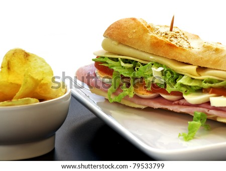 sandwich with egg ham cheese tomato - stock photo