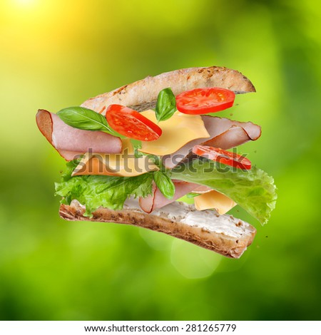 Sandwich with falling ingredients in the air against natural green background - slices of fresh tomatoes, ham, cheese and lettuce - stock photo