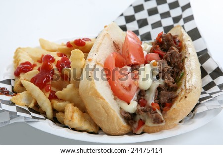 Sandwich with Fries - stock photo