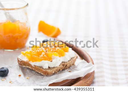 Sandwich with fruit jam and cottage cheese on a board, closeup with copy space
