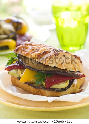 Sandwich with grilled vegetables, selective focus - stock photo