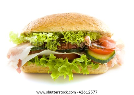Sandwich with ham and salad isolated over white