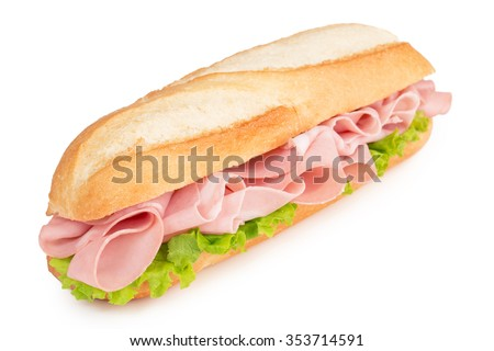 sandwich with italian sliced meat isolated on white - stock photo