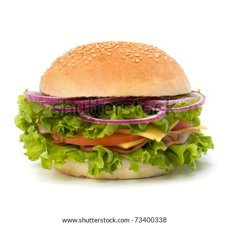 sandwich with lettuce, tomato, smoked ham and cheese isolated on white background. Junk food hamburger.