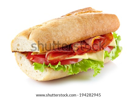 Sandwich with meat and vegetables isolated on a white background - stock photo