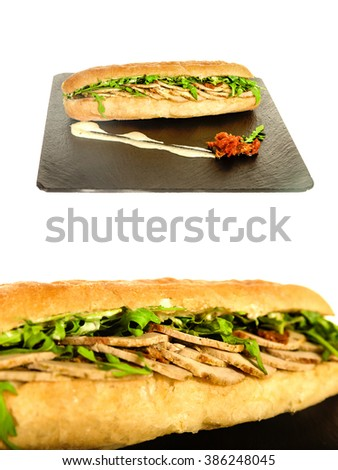 Sandwich with Meat Pork on Granite Chopping Board Plate with Ingredient Lettuce Green Salad on White Background. Sandvich with Chicken or Beef, Gyros Slice Meat and Vegetables. Delicious Healthy Meal - stock photo