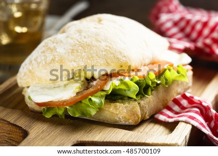 Sandwich with mozzarella cheese, tomatoes and pesto sauce