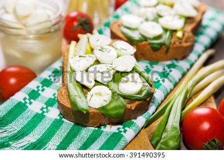 sandwich with mozzarella,ramson and tomatoes in studio