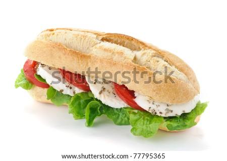 Sandwich with mozzarella, tomato and salad - stock photo