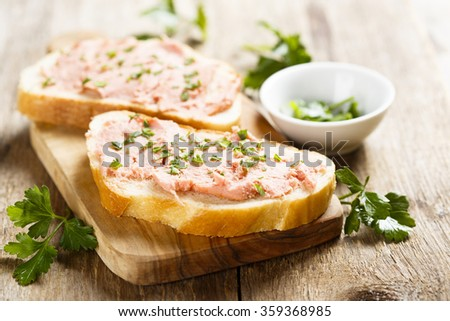 Sandwich with pate - stock photo