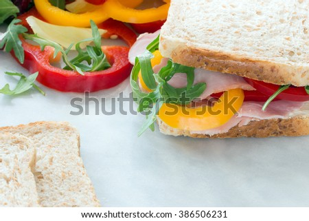 sandwich with peppers and ham marble