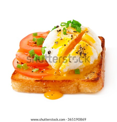Sandwich with poached egg - stock photo