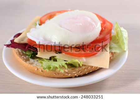 Sandwich with poached egg and vegetables on plate on wooden background - stock photo