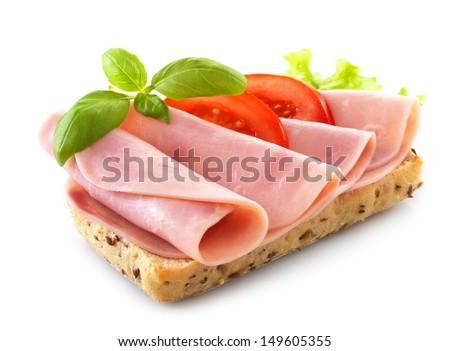 sandwich with pork ham isolated on white background - stock photo