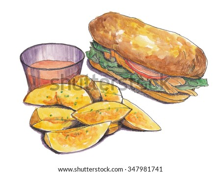 Sandwich with potatoes chips