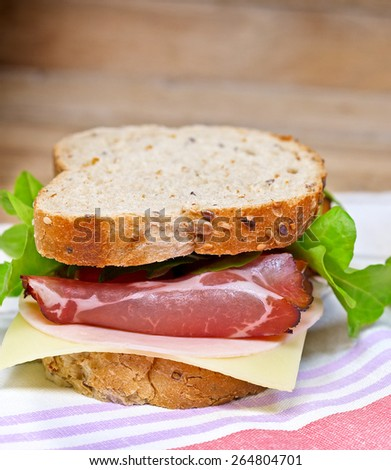 Sandwich with prosciutto  - stock photo