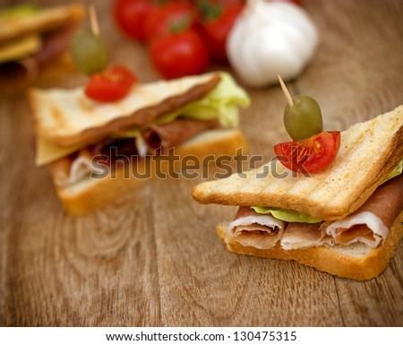 Sandwich with prosciutto - ham - stock photo