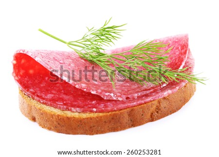 Sandwich with salami and dill isolated on white - stock photo