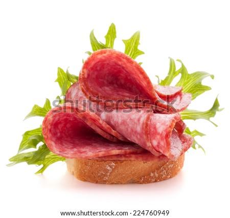 sandwich with salami sausage on white background  cutout - stock photo