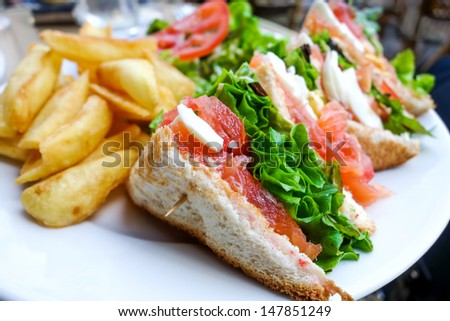 Sandwich with Salmon, cheese and golden French fries potatoes