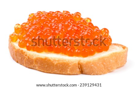 Sandwich with salmon red caviar on white background cutout